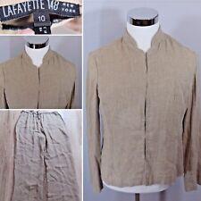 LAFAYETTE 148 Tan Khaki Brown Linen Suit Set Womens Size 10 Excellent!