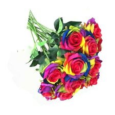 12 Pcs Artificial Silk Rainbow Rose Flower silk flower For DIY any Arrangement