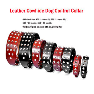 Leather Cowhide Dog Control Collar Spikes Studded for Dog Rottweiler Labrador IP