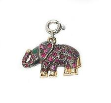 NEW 14k YELLOW GOLD EMERALD AND RUBY ELEPHANT BLACK RHODIUM PENDANT CHARM
