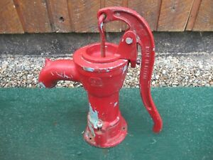 "Vintage Cast Iron Hand WATER PUMP with RED Finish 15"" High"