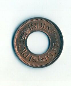 UNC British India ONE PICE COIN WITH A HOLE 1945 B UNC