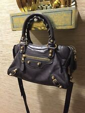 Authentic Balenciaga mini city graphite leather gold tone ghw bag