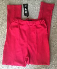 BOOHOO SIENA RED CREPE HIGH WAISTED LEGGINGS UK 8 NEW