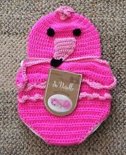 So 'Dorable Infant Flamingo Cocoon Photo Outfit Pink Crochet Newborn 0-6 Months