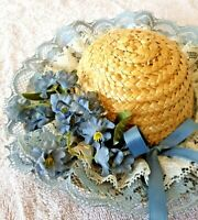 "Vintage ~ Hand Decorated Straw Doll Hat Blue Flowers & Lace Wall Decor 5"" Across"