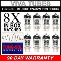 Brand New Tung-Sol Reissue 12AU7 6189 ECC82 GAIN MATCHED Octet (8) Vacuum Tubes