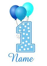 IRON ON TRANSFER PERSONALISED BIRTHDAY ANY NAME/NUMBER first balloons blue