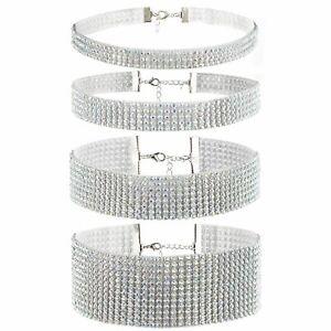 4pcs Bling Rhinestone Choker Necklace Womens Wedding Party Chain Bib Statement