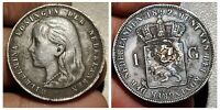NETHERLANDS  WILHELMINA I   1892  1 GULDEN SILVER COIN,wow gr., punch* shipwreck
