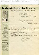 Dépt 59 - Caudry 68 Rue d'Alsace - Belle Entête Industrie de la Pierre de 1932