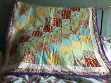 Handmade Patchwork Lap Throw In Pastel Colours 100%cotton Fabric