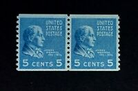 US Stamps, Scott #845 5c coil pair M/NH, '39 Presidential Series, PO fresh