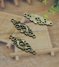 15-45pcs 36x12mm Antique Silver Filigree Flower Rhombus Pendant Connector Link