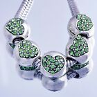 5Pcs Silver filled Green crystal Heart Charms Beads Fit European Charm Bracelet