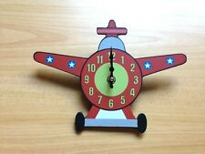 Kids/Children Plane Shaped Duo Wall or Desk Clock in Red