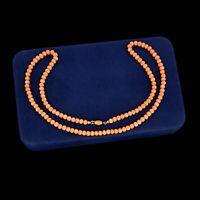 Antique Vintage Art Nouveau 14k Gold Carved Salmon Coral Beaded Bead Necklace