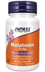 NOW FOODS MELAT0NIN 3MG | 60 VEG CAPSULES | Healthy Sleep Cycle | FREE SHIPPING