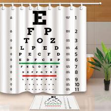 Eye chart Shower Curtain Bathroom Waterproof Fabric & 12Hooks 71*71inches