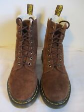 Dr. Martens Boots Serena Combat Womens Suede Sherpa Lined 8-Eye Brown Size 7 US