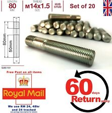 Renault Conversion wheel studs screw-in hub. M14 x 1.5 80mm Long, set of 20