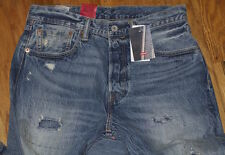 NWT LEVI'S 501 Ct Mens Button Fly Selvedge distressed PATCH Denim Jeans 31x32