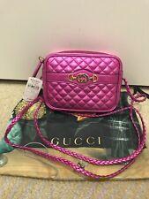 Gucci Trapuntata Metallic Mini Leather Crossbody Shoulder Bag Fuchsia