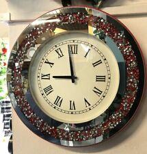 Round Sparkly Diamond Red Crush Crystal Silver Mirrored Roman Wall Clock 46CM