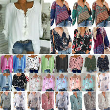 Plus Size Women Boho V Neck Long Sleeve T Shirt Lady Casual Tee Top Blouse S-5XL