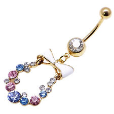 14kt Gold Plated Over Surgical Steel Belly Bar With CZ Gems 14g 1.6mm X 10mm