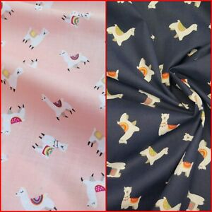 Llama Polycotton Fabric: Childrens Alpaca Bright Pink Navy Blue Material