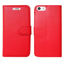 Flip Wallet Leather Cover Case for Apple iPhone Models Screen Protector Plain Red I Phone 5 5s