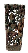 """Ancien Panneau bois sculpté statue hindoue Krishna Radha 120 cm-47"""" Nepal-Inde"""