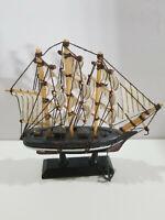 Nautical Wood Cloth Sailing Ship Vessel Boat Collectible Figurine