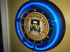 Yellow Taxi Cab Stop Station Driver Garage Blue Neon Advertising Wall Clock Sign