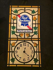 Pabst Blue Ribbon Lighted Sign With Clock