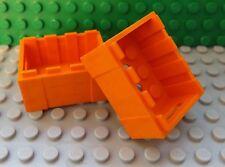 2 LEGO Orange Container Box CRATE MANIGLIE Nave Castello Fire Police Città 30150