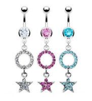 Star Circle Paved CZ Gem Dangle Belly Ring Hoop Pierced Navel Clear, Pink, Aqua