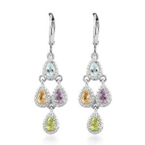 Jewelry For Women Gift Pink Amethyst Natural Citrine Gorgeous Earrings Ct 1.8