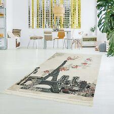 Druckteppich Flachflor Polyester Waschbar Eiffelturm Paris Creme 130x200cm