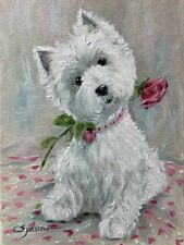 WESTIE VALENTINE HEARTS & FLOWERS  GARDEN FLAG FREE SHIP USA RESCUE