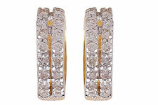 Pave 0.65 Cts Natural Diamonds Hoop Earrings In Solid Hallmark 18K Yellow Gold