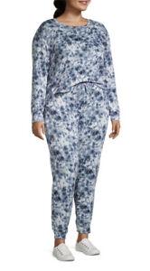 Catherine Malandrino Women's Plus 2 Pc Sweatshirt & Pants Lounge Set Tye Dye 3X