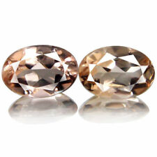 1.47Ct 7X4mm (2pcs) Extremely Fire Lustrous Peach Pink Morganite, Brazil