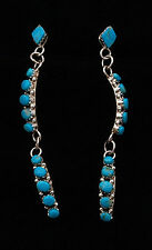 Native American Zuni Handmade Sterling Silver with Blue Turquoise Earrings