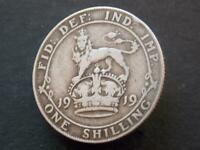 1919 WW1 Period Solid Sterling Silver Vintage  Shilling George V C117