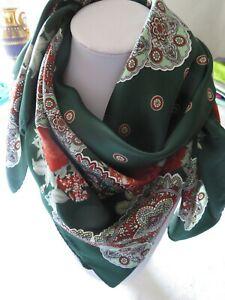 Very large silky scarf in rich green with floral paisley print in red & green