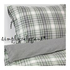 IKEA Twin Check Duvet Quilt Cover Pillowcase Green Black White for Single Bed