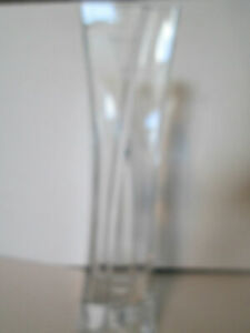 "Modern Crystal Flower Vase 15"" Square Shaped Beveled Layer on Front and Back"