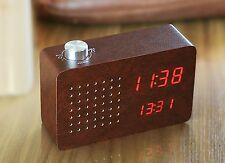 Gingko Leatherette FM Radio Click Clock Alarm Sound Activated Red LED Display